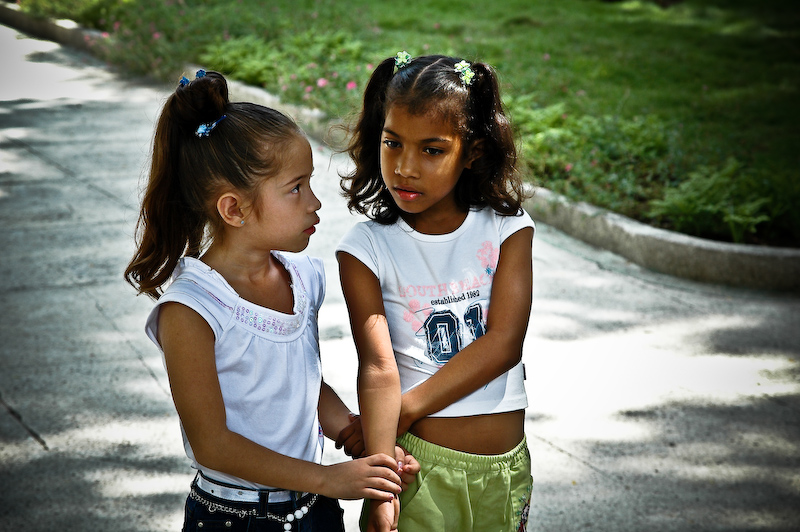 two girls walking  - trinidad